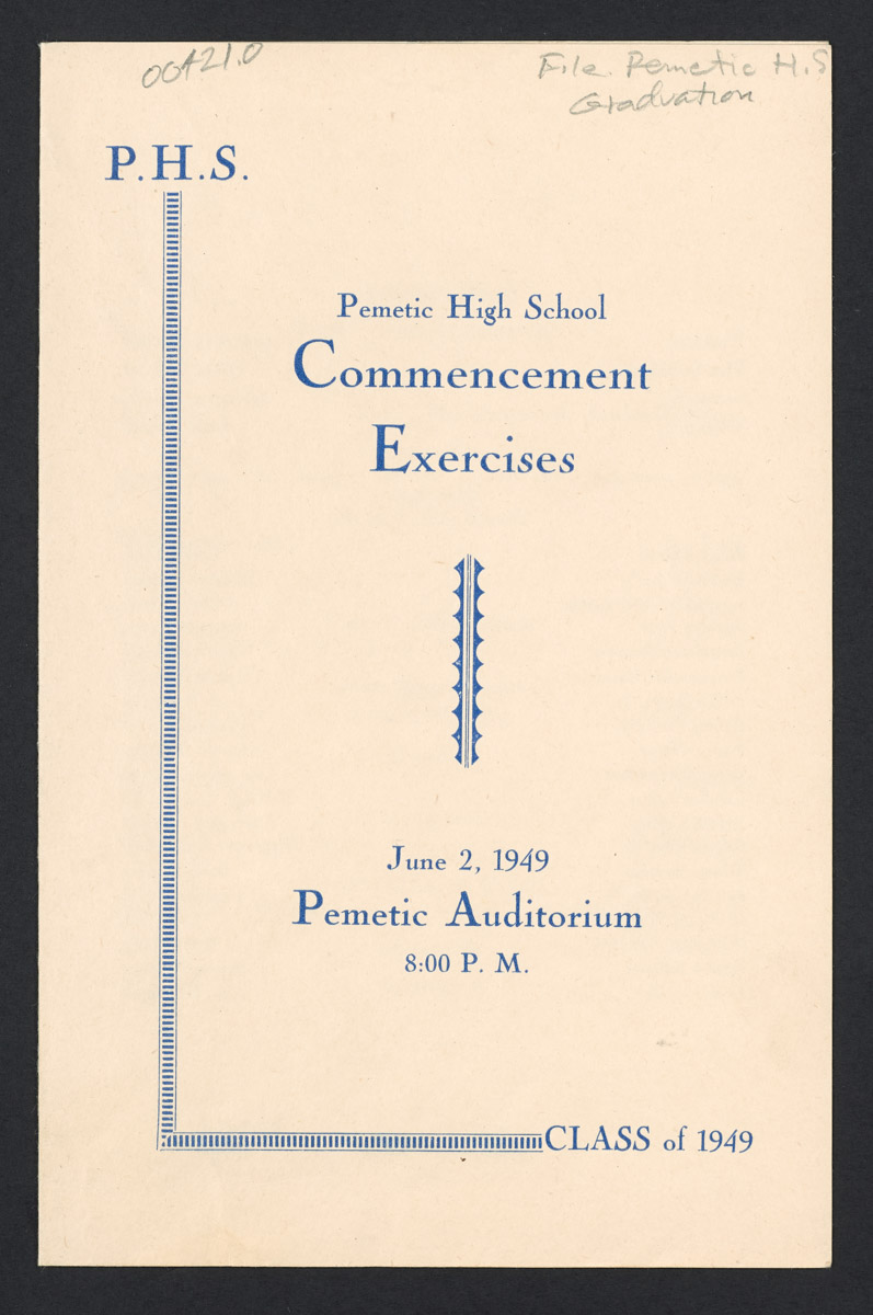 Pemetic High School Commencement Exercises Program, June 2, 1949