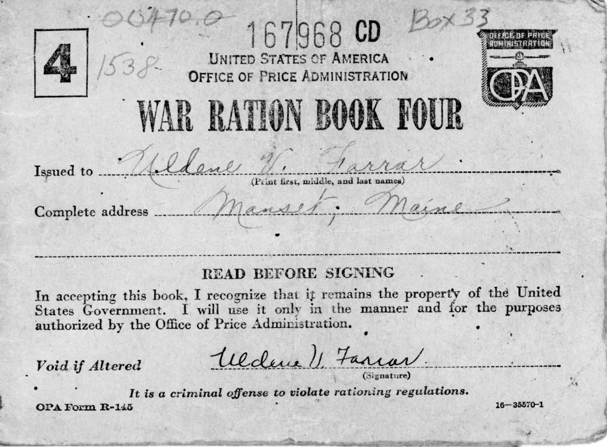 War Ration Book four