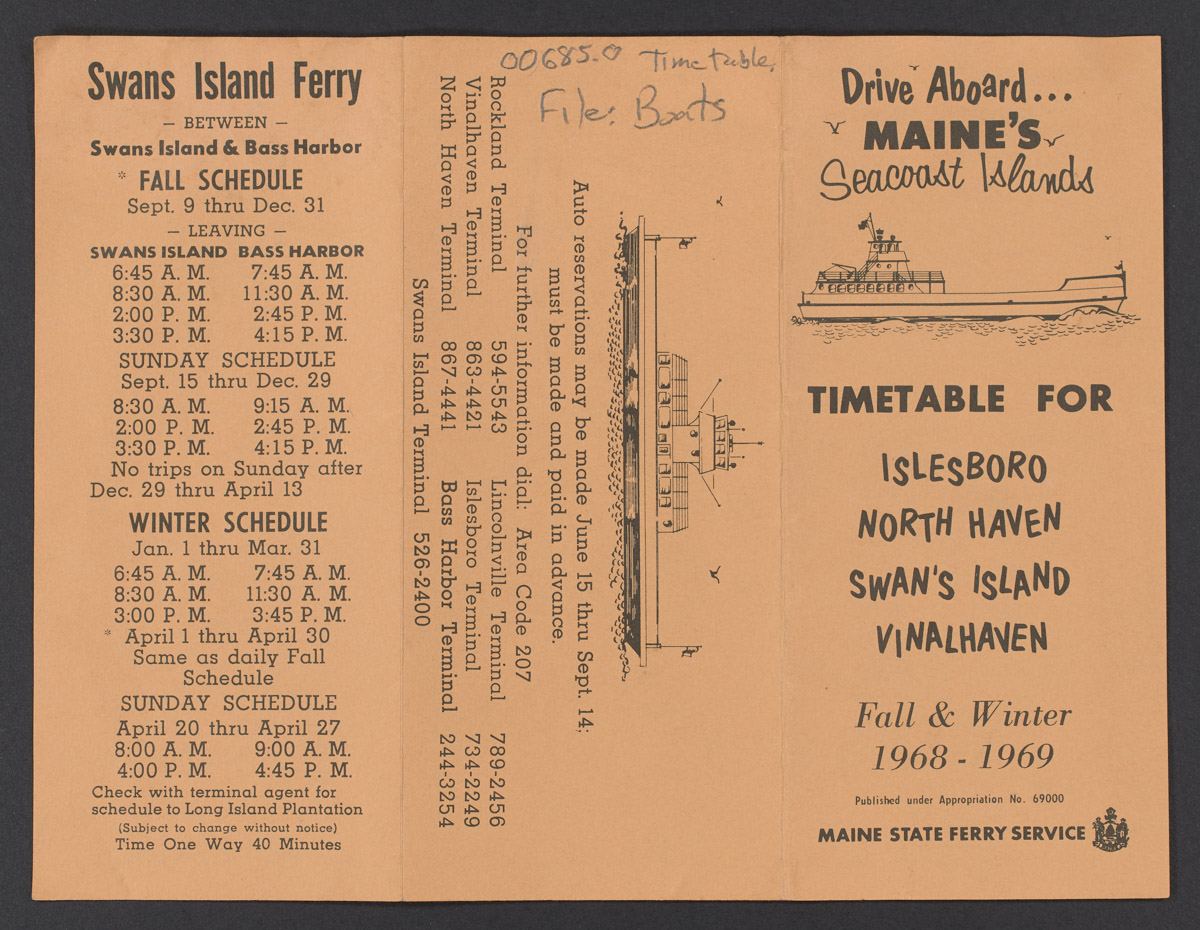 Maine State Ferry Service Timetable, 1968-1969