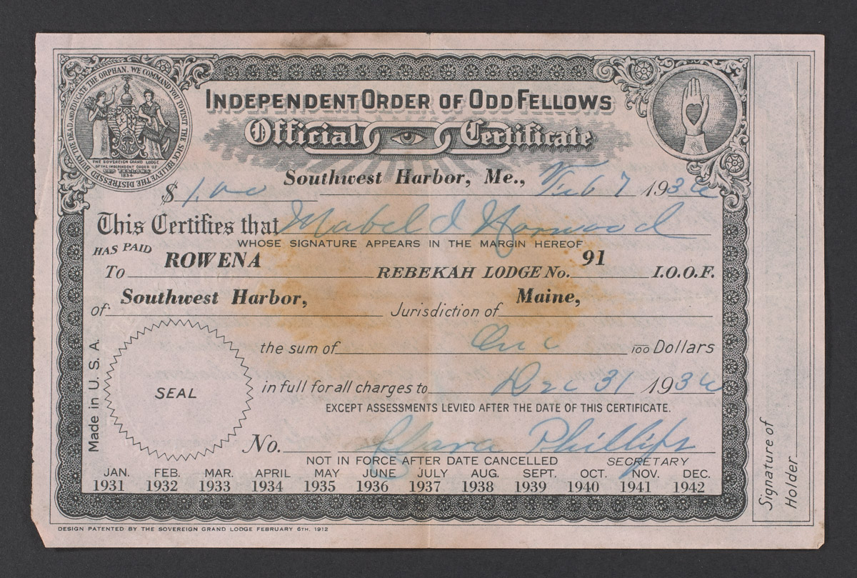 Independent Order of Oddfellows Official Certificate, February 7, 1936