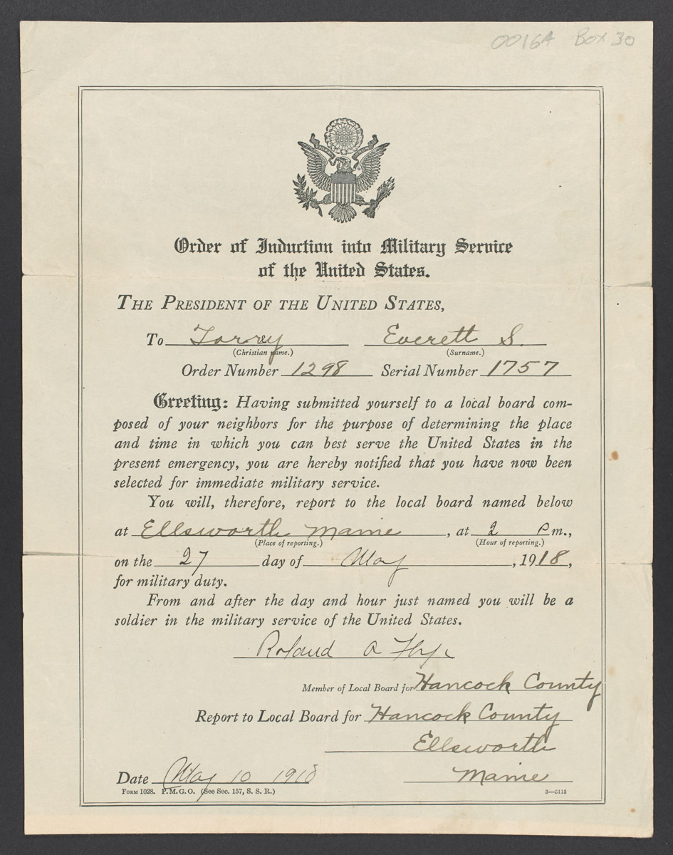 Everett Torrey Order of Induction into Military Service of the United States, May 10, 1918