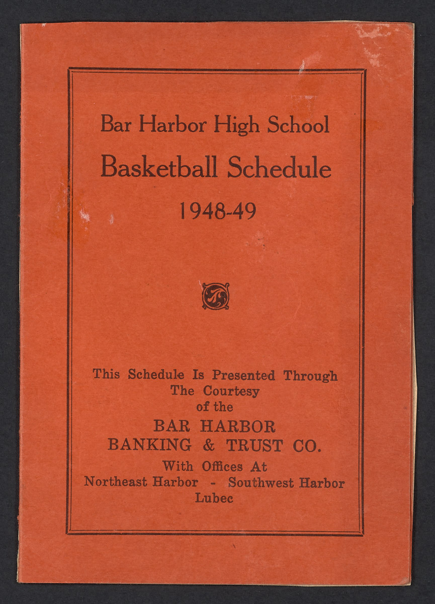 Bar Harbor High School Basketball Schedule Pamphlet, 1948-1949