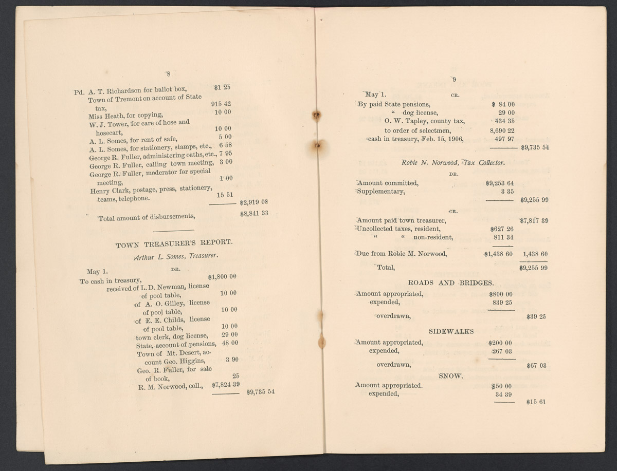 Annual Report of the Municipal Officers of the Town of Southwest Harbor, 1906