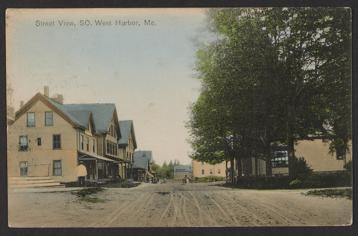 Postcard showing Street View of Southwest Harbor, Maine