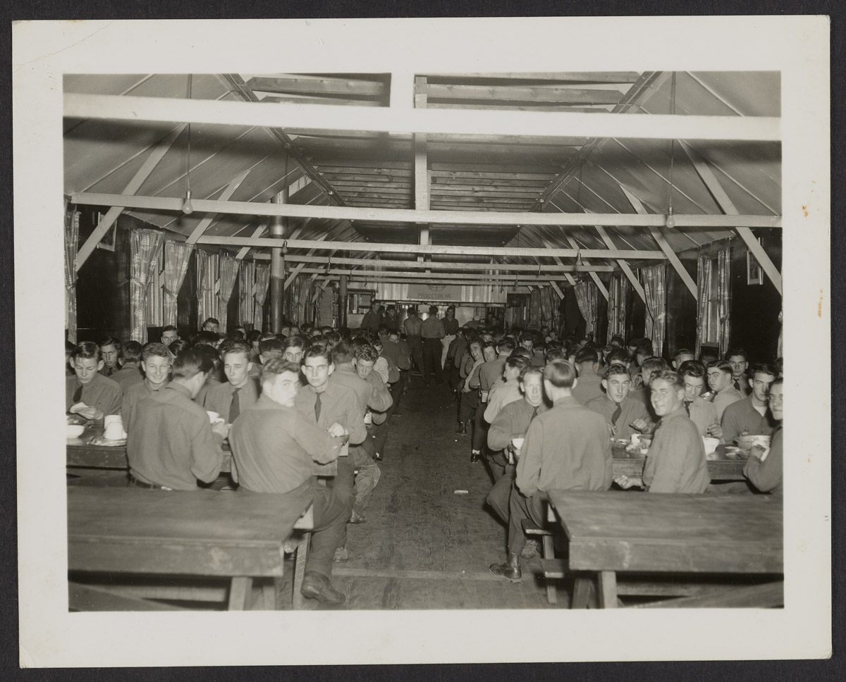 CCC Men in Mess Hall Photograph, c. 1933-1942