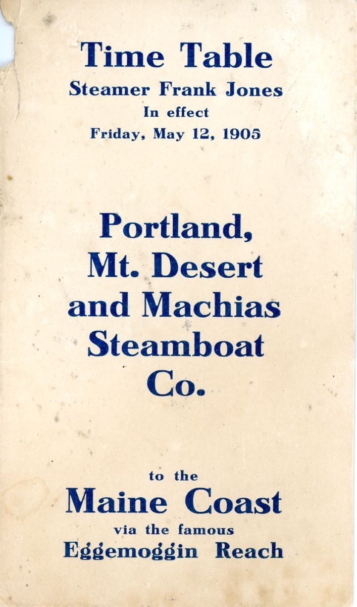 Time Table for Steamer Frank Jones